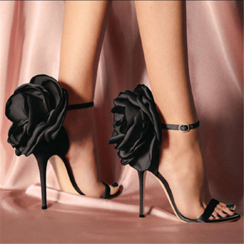 Large Flower Buckled High Heel Satin Sandals