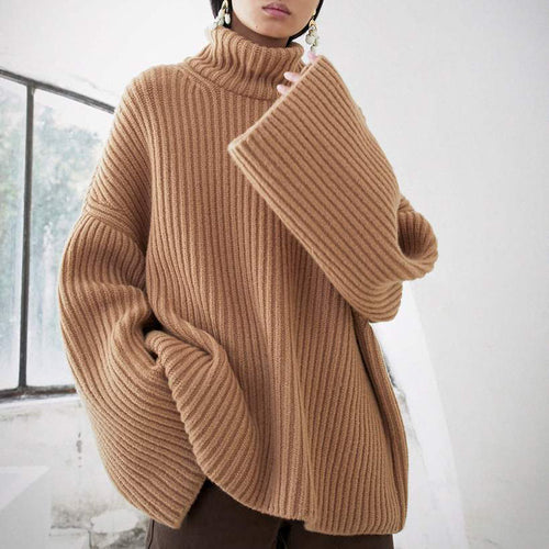 Casual High Collar Pure Color Sweater