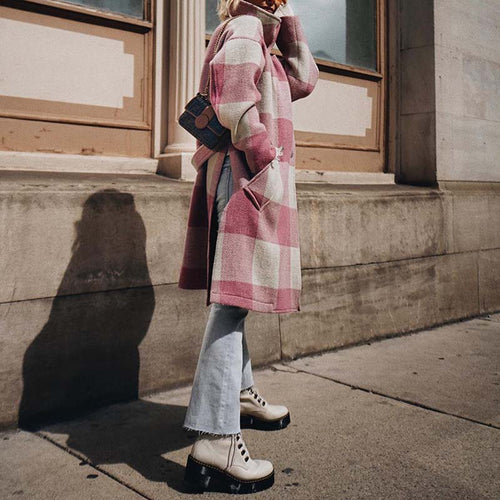 Fashion Pink Plaid Side Spilt High Collar Midi Coat