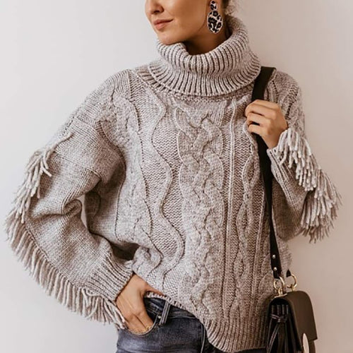 Stylish Turtleneck Patchwork Fringe Loose Sweater