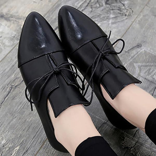 Fashion Plain Point Toe Artificial PU Flat & Loafers Shoes
