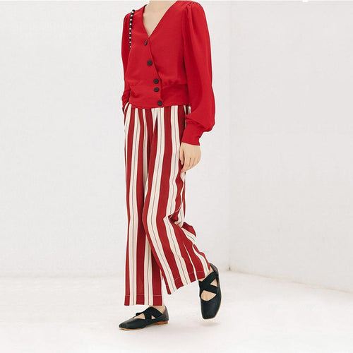 Fashion Strip Elastic Waist Loose Pants
