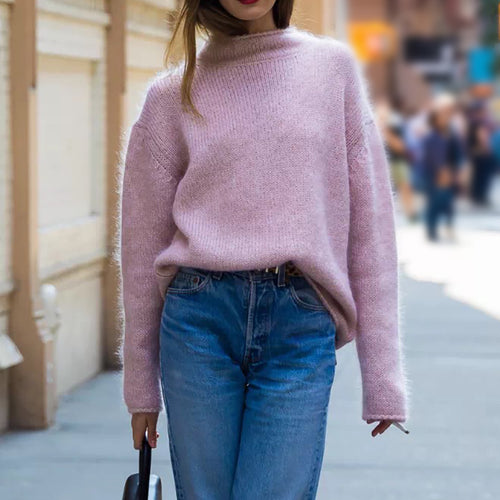 Sweet Turtleneck Pink Long Sleeve Knit Sweater
