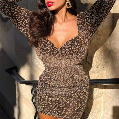 Sexy Print Lace Up Heart Sleeve Puff Sleeve Dress