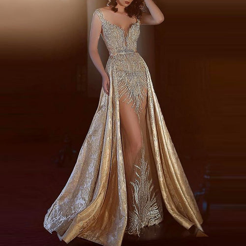 Sexy gold embroidered sling perspective evening dress