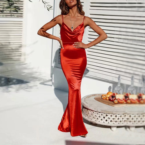 Sexy V neck backless Fishtail Dress