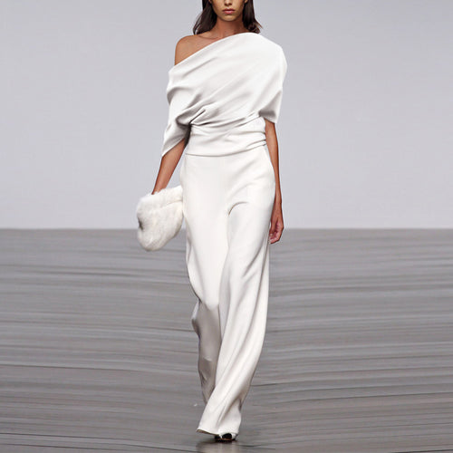 Fashion Solid Color Pleated Off Shoulder Wide Leg Jumpsuit