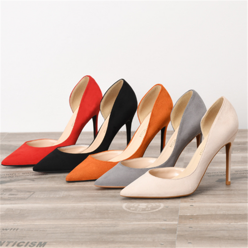 Fashion suede pointed high heels