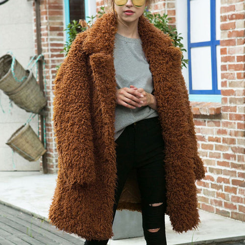 Fashion Suit Collar Pure Color Artificial Fur Overcoat