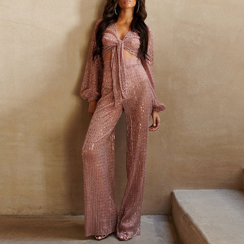 Bow Sequined Wide-leg Pants Fashion Long Jumpsuit