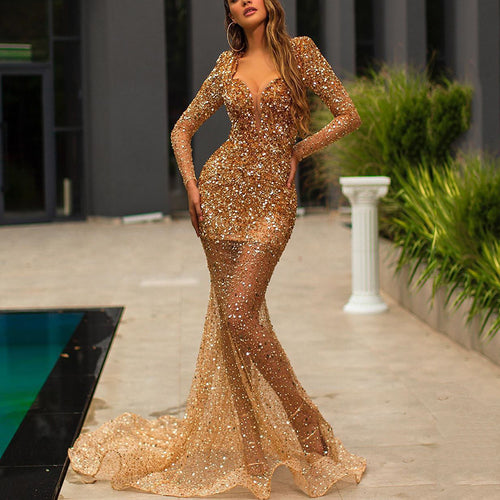 Sexy Hot Stamping Deep V-Neck Long Sleeve Evening Dress