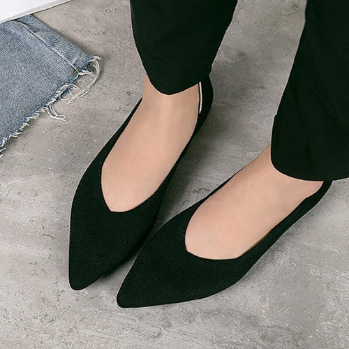 Fashion Pointed Woven Female Flat Shoes