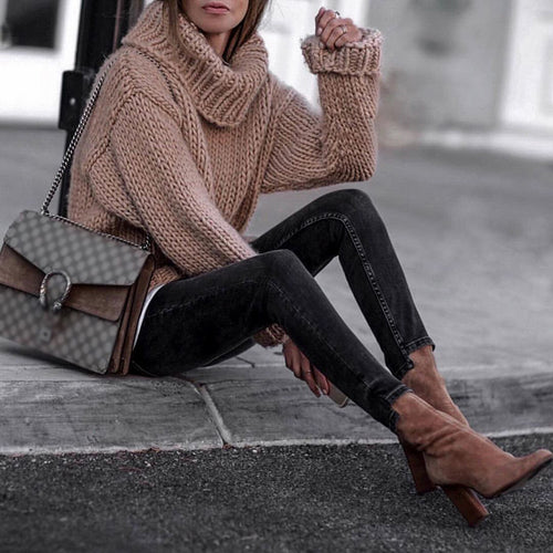 Casual Pure Color High-Neck Knit Sweater