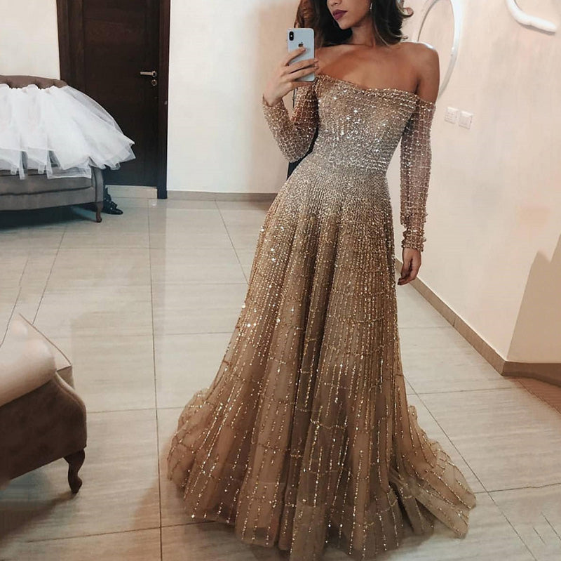 Women's Sexy Sequin Boat Neck Long Sleeve Evening Dress