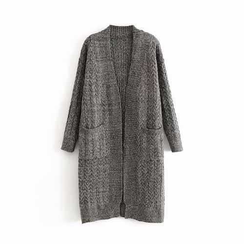 Casual Twisted Pocket Medium Length Knit Cardigan