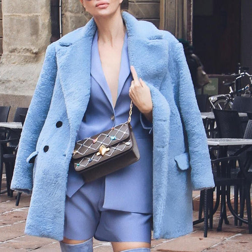 Fashion Blue Plush Coat