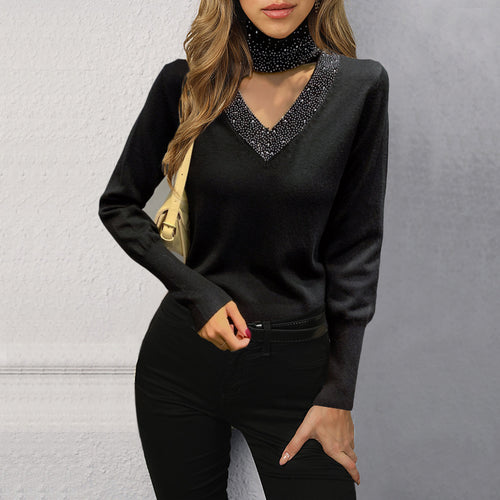 Slim Long-sleeve High-neck V-neck Rhinestone Knitwear