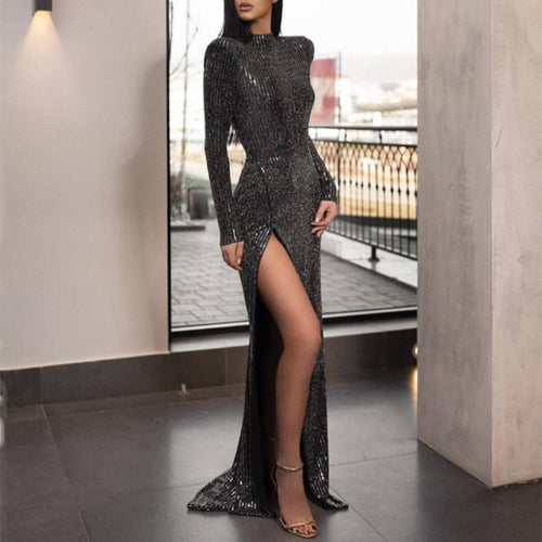 Sexy Long Sleeves Slit Legs Dress