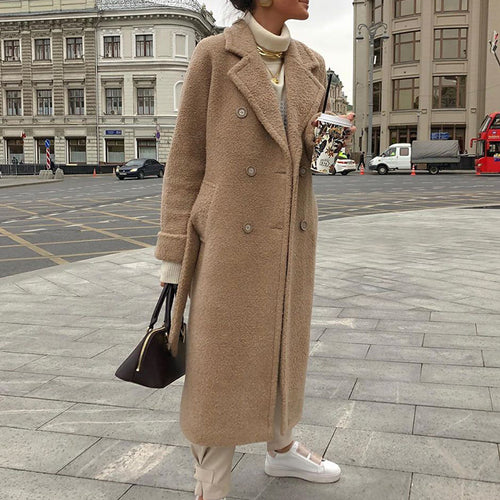 England Style Turndown Collar Pure Colour Coat
