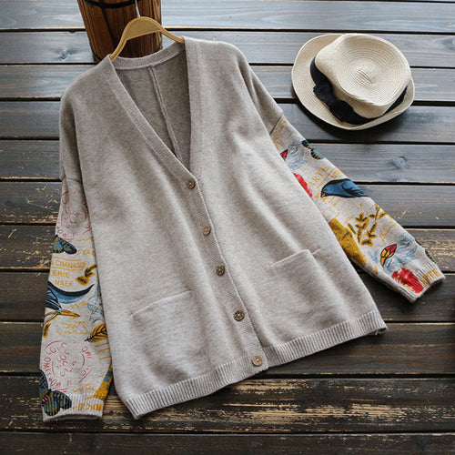 Japanese printed long-sleeved cardigan