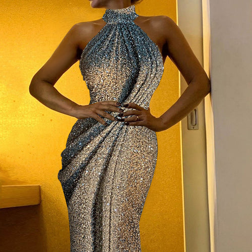 Sexy Lady Hanging Neck Evening Gown