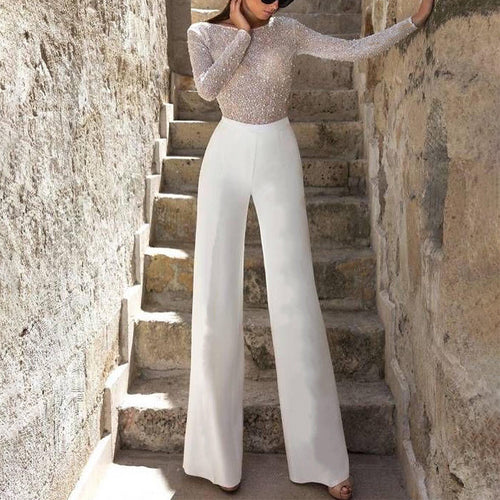 Sexy Elegant Sequins Long Sleeve Jumpsuits