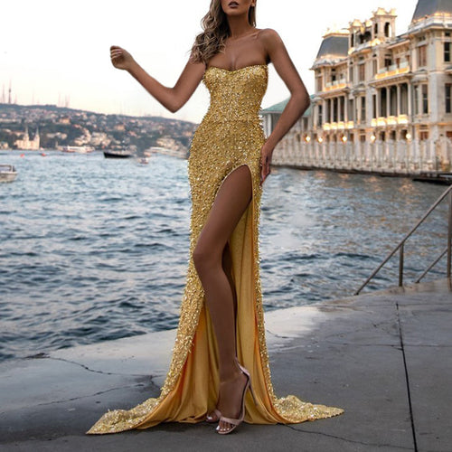 Sexy Tassel Sequin Evening Dress