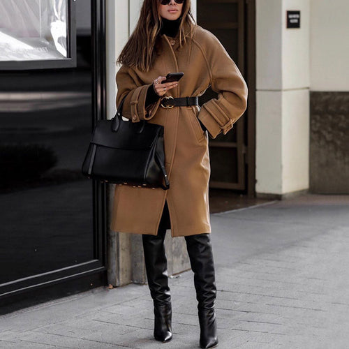 Women's Lapel Solid Color Coat