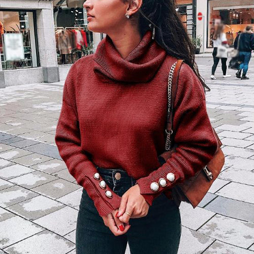 Fashion High Collar Sweater Loose Knit Top