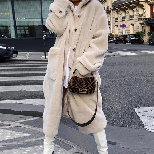Fashion Solid Color Plush Padded Fur Coat