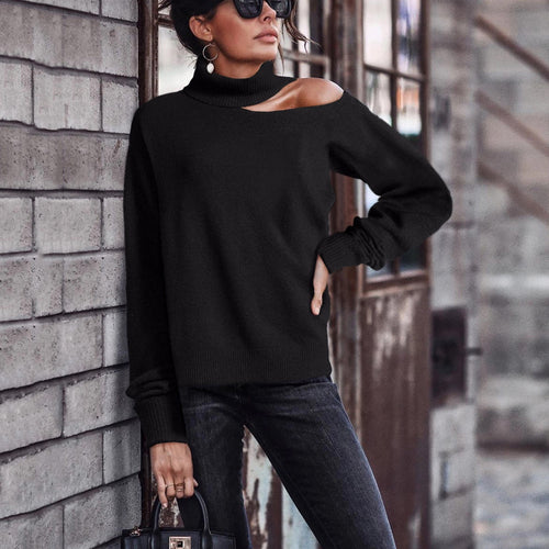 Fashion High Collar Open-Shoulder Knit Sweater