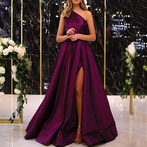Born One Shoulder Elegant Swing Dress