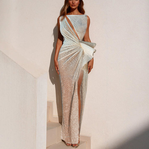 Sexy Boat Neck Hollow Out Slit Evening Dress