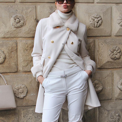 Elegant Solid Color Lapel Long Sleeve Coat
