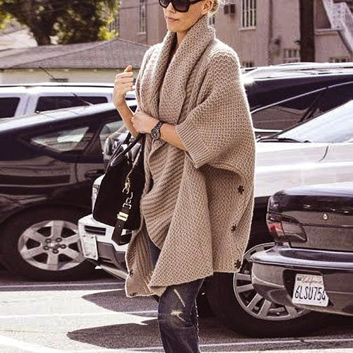 V-neck Long-sleeved Brown Knit Cardigan