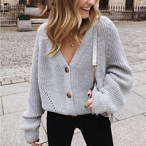 Solid Color Button V-neck Loose Outer Knit Sweater