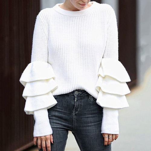 Fashion Round Neck White Cascading Ruffled Sleeve Knit Sweater