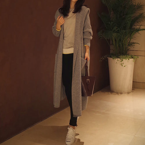 Women's Casual Solid Colour Loose Midi Cardigan