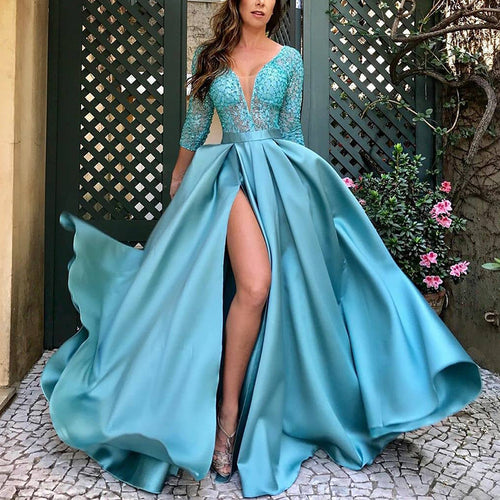 Elegant Deep V-Neck Paillette Bracelet Sleeve Slit Evening Dress