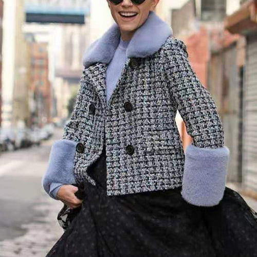 Fashion Plaid Panel Plush Double Row Button Long Sleeve Jacket