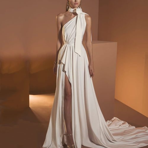 Sexy Sleeveless Halter Bare Back Ruched Hem Evening Dress