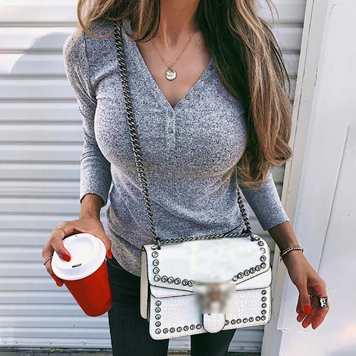 Casual V-neck Single-breasted Solid Color Sweater