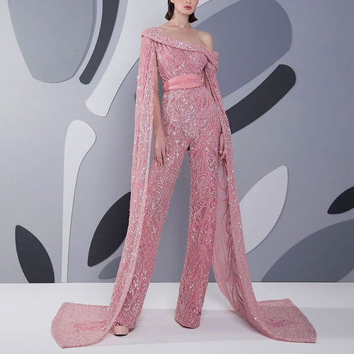 Elegant Sloping Shoulder Sequin Pink Evening Jumpsuit