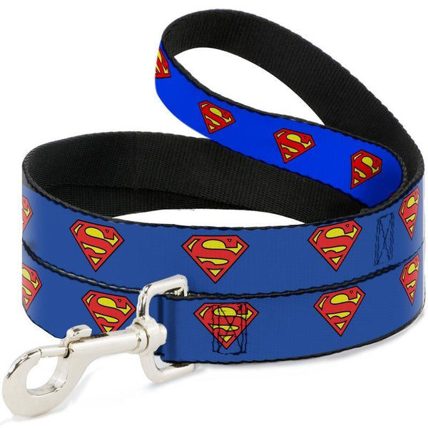 Buckle-Down Superman Blue Shield Dog Lead (4ft) - Leads - Xtra Dog
