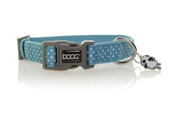 DOOG Snoopy Dog Collar Blue and White Polkadots - Discontinued - Xtra Dog