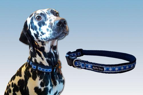 Spiffy Dog, Navy Snowflakes Collar - Collars - Xtra Dog