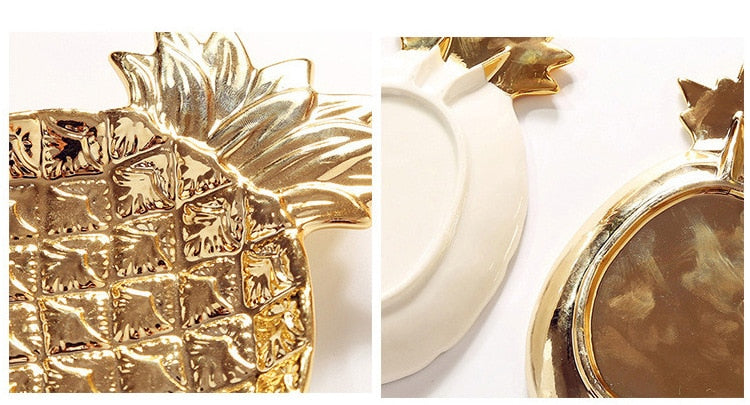 Gold Pineapple Ceramic Plate