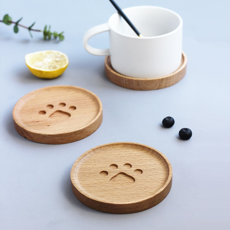 Cat Paw Imprinted Wood Coaster