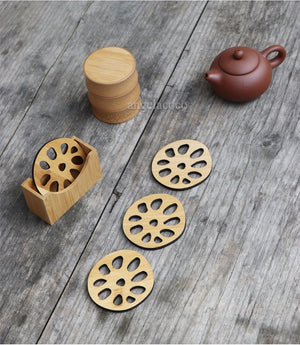 Bamboo Coaster Set in Lotus Leaf and Lotus Root Style