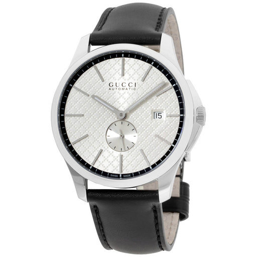10aa86ec782 Gucci G-Timeless Silver Dial Leather Strap Men s Watch